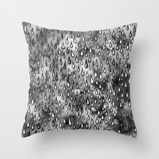 Grey Raindrops Throw Pillow