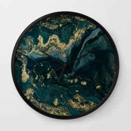 Abstract Pour Painting Liquid Marble Abstract Dark Green Painting Gold Accent Agate Stone Layers Wall Clock