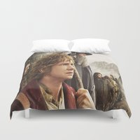 smaug Duvet Covers featuring the hobbit,the last goodbye,martin freeman,an unexpected journey,the desolation of smaug,the battle  by ira gora