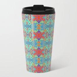 Boho Hippie Garden Floral Pattern - Turquoise Summer Travel Mug