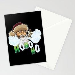 Vaping Santa Claus Blows Clouds Under Xmas Tree Stationery Cards