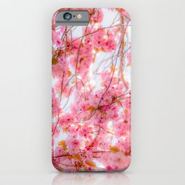 Cherry pink blossoms watercolor painting #12 iPhone Case