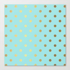 Gold polka dots on aqua backround - Luxury turquoise pattern Canvas Print