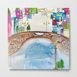 The Neighborhood. Original Artwork Painting Sketch. Bridge and Cityscape. Abstract City. Metal Print