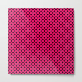 Small Black Crosses on Hot Neon Pink Metal Print