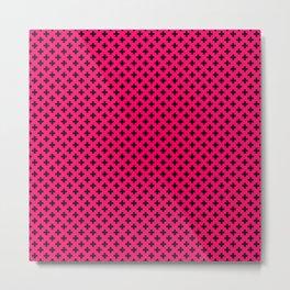 Small Black Crosses on Hot Neon Pink Metal Print