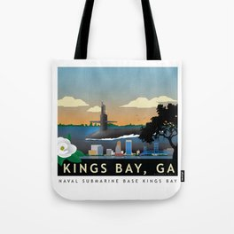 Kings Bay, GA - Retro Submarine Travel Poster Tote Bag