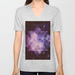 Galaxy Sacred Geometry: Purple Rhombic Hexecontahedron Unisex V-Neck