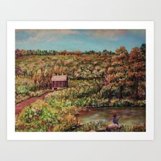 Ave Hurley - Tenant House In August [reversed] Art Print