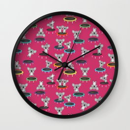 Koala Gymnasts On Trampolines Pattern On Pink Wall Clock