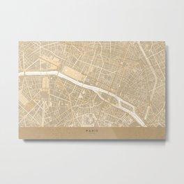 Vintage map of Paris France in sepia Metal Print