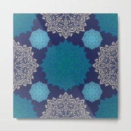 Folk Floral Damask Denim Blue Metal Print