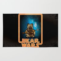 tomb raider Area & Throw Rugs featuring Bear Wars - Raider by Gingerbear Todd