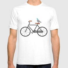 Pigeon Riding Bike White Mens Fitted Tee SMALL