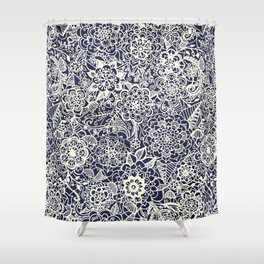 Lace on Nautical Navy Blue Shower Curtain