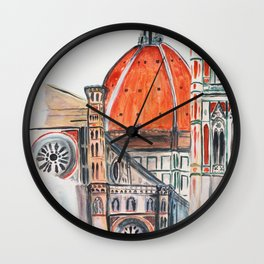 Florence Italy illustration, Firenze duomo Wall Clock