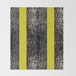 Gothic tree striped pattern mustard yellow Throw Blanket