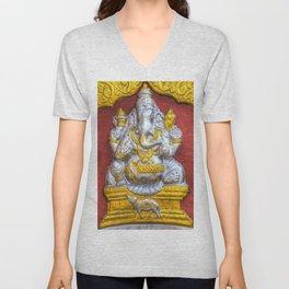 Indian Temple Elephant Unisex V-Neck