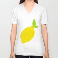 lemon V-neck T-shirts featuring Lemon  by Ariel Lark