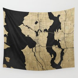Seattle Black and Gold Street Map Wall Tapestry