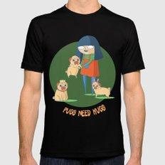 Pugs need hugs MEDIUM Mens Fitted Tee Black
