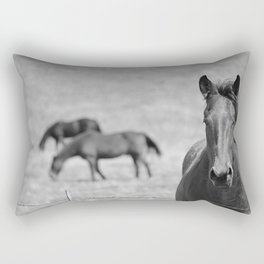 Extremely Photogenic Horse B&W Rectangular Pillow