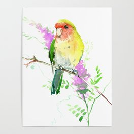Lovebird and Flower, beautiful floral art Poster