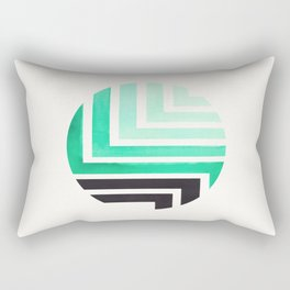 Turquoise Circle Round Framed Mid Century Modern Aztec Geometric Pattern Maze Rectangular Pillow