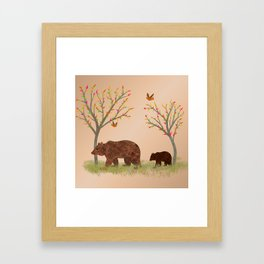 Walk In The Woods With Mama Bear Framed Art Print