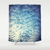 racing Shower Curtains featuring Racing Clouds by Luci Dreams