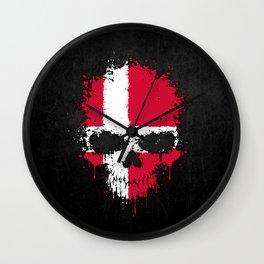 Flag of Denmark on a Chaotic Splatter Skull Wall Clock