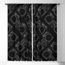 Turntable and Mixer illustration pattern- sketch / drawing Blackout Curtain