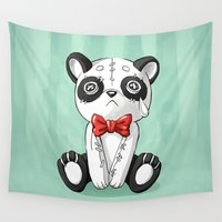 doll Wall Tapestries featuring Panda Doll by Freeminds