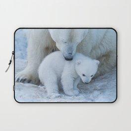 Polar Bear Mother and Cub portrait. Laptop Sleeve