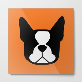 Boston Terrier - bold and moden in orange Metal Print