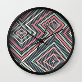 Red, Green, Blue, and Peach Lines - Illusion Wall Clock