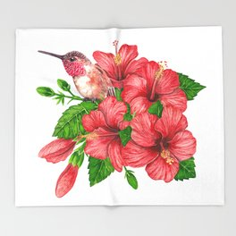 Tropical bouquet Throw Blanket