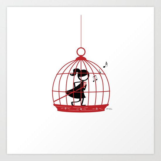 The Caged Bird Sings Art Print