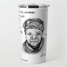 Feminist Art Maya Angelou Quote Travel Mug