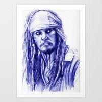 jack sparrow Art Prints featuring Jack Sparrow by Luna Perri