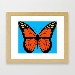 Butterfly Art Orange & Yellow With Blue Background Framed Art Print