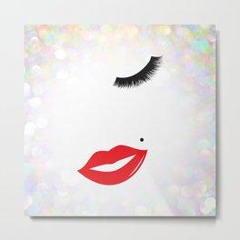 Lips & Lashes Metal Print