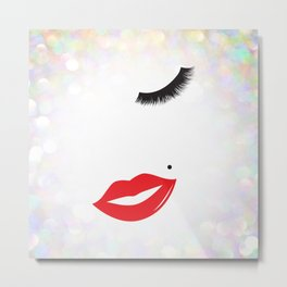 Lips & Lashes Metal Print