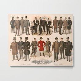 Men's fashion fall and winter 1895 Metal Print