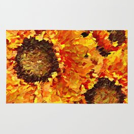Sunflowers Abstracted Rug