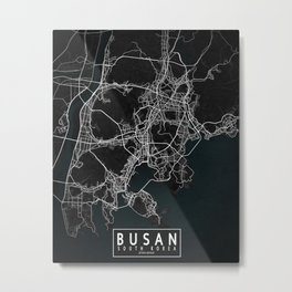 Busan City Map of South Korea - Dark Metal Print