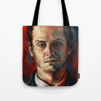 moriarty Tote Bags featuring James Moriarty by Alice X. Zhang