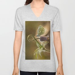 Morning impression with pasque flower and small butterfly Unisex V-Neck