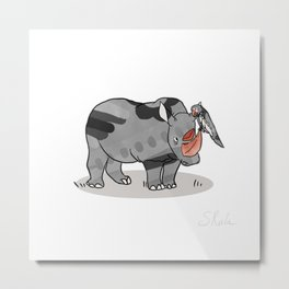Rhinoceros & Parrot, Funny Wild Animal Graphic, Black & White with Copper Metallic Accent, Cartoon s Metal Print
