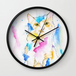 Rainbow Dream Kitten Wall Clock
